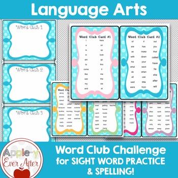 Classroom Word Club Challenge - Blue Polkadot Theme