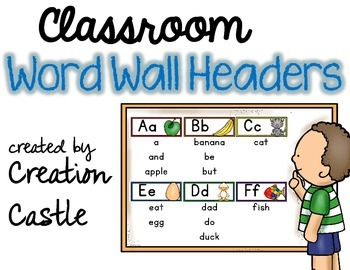 Classroom Word Wall Headers