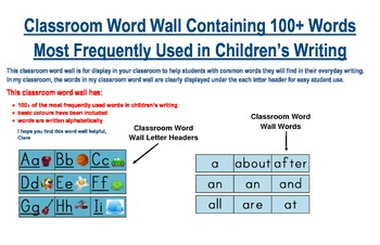 Word Wall With 100+ Words Most Frequently Written By Children