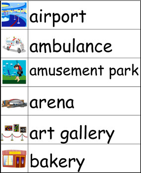 Community Places Word Wall