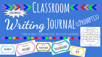 Classroom Writing Journals Prompts (Bright, Colorful) No Prep