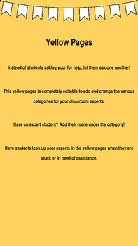 Classroom Yellow Pages- Editable!