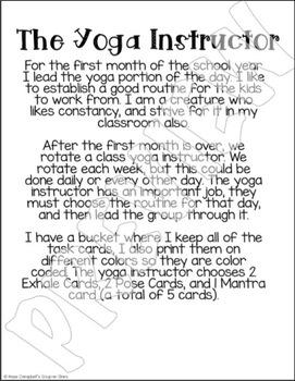 Classroom Yoga Task Cards