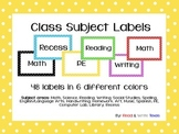 Classroom and School Subject Labels