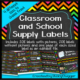 Classroom and School Supply Labels in Bright Chevron and Chalkboard