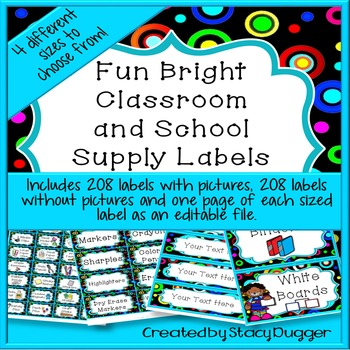 Classroom and School Supply Labels with Fun Bright Circles