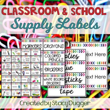 Classroom and School Supply Labels Watercolor Chevron Arrow Labels