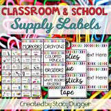 Classroom and School Supply Labels Watercolor Chevron Arro