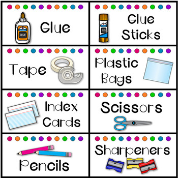 Classroom and School Supply Labels Simple Bright Dots