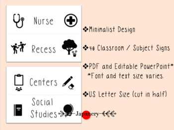 Classroom and Subject Signs [Editable and PDF] Minimalist Design