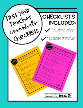 Classroom and Teacher Essentials Checklists
