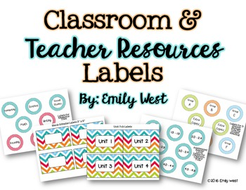Classroom and Teacher Resources Labels-Turquoise Chevron Theme-EDITABLE