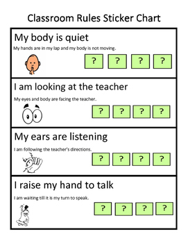 Classroom behavior sticker chart