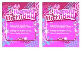 Classroom birthday certificate - Boys & Girls