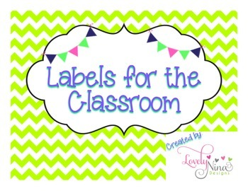 Classroom chevron lime green labels FREEBIE