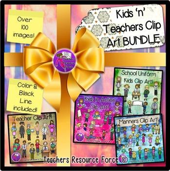 Students and Teachers clip art bundle