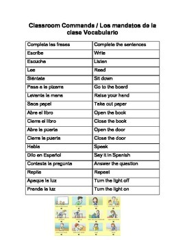 Classroom commands Quiz/vocab.