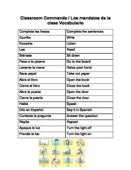 Classroom commands crossword