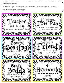 Classroom coupons in fun Zebra Print Colors