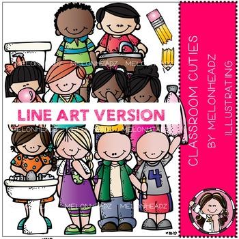 Classroom cuties clip art - LINE ART- by Melonheadz