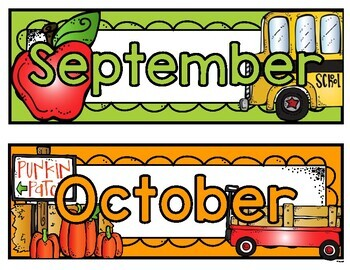 Classroom days of the week and months labels
