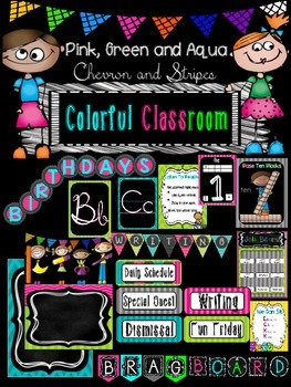 Classroom decor {Bright pink, aqua, green, chevron and stripes}