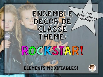 Classroom decor - Rock Star - FRENCH - Ensemble d'affichage