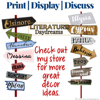 Back to School Shakespeare Classroom decor place signposts