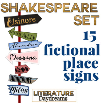 Classroom decor: Shakespeare place signposts