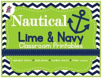 Classroom decor printables: LIME & NAVY NAUTICAL