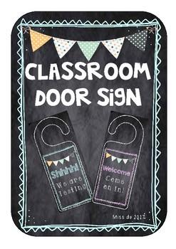 Classroom door sign hanger testing welcome