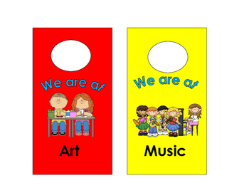 "Classroom door ""where are we..."" door hangers/signs"