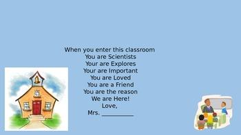 Classroom entrance sign