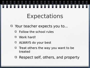 Classroom expecations Beginning of School year