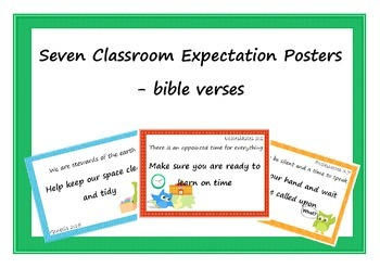 Classroom decoration expectation posters - bible verse