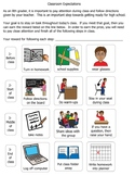 Classroom expectations visual chart (middle school)