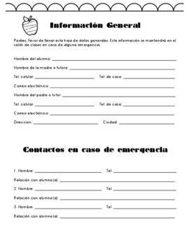 Classroom forms in spanish