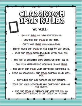 Classroom iPad Rules Poster and Student Contract(Editable)