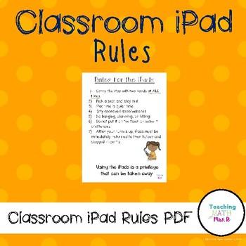 Classroom iPad Rules Printable