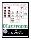 Classroom item labels for preschool classroom