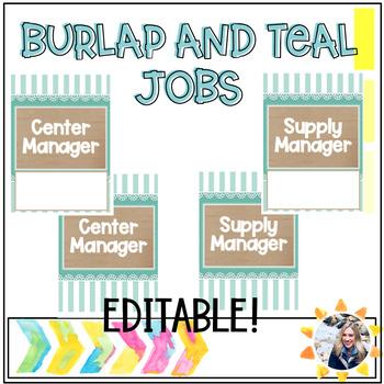 Classroom jobs (Burlap and Teal)
