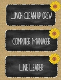 Classroom job labels! Chalkboard and Burlap Theme!