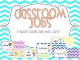 Classroom jobs {Chevron color and white} pocket chart or velcro!