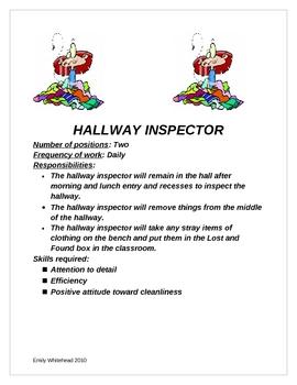 Classroom jobs and descriptions