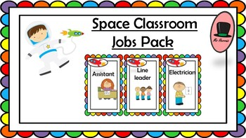 Classroom jobs organizer with pictures. Space theme chart