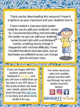 Classroom jobs poster (surfboard themed)