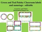 Classroom labels - Paisley themed - Editable