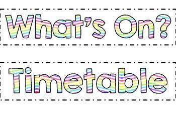 Classroom labels - Rainbow Chevron Theme