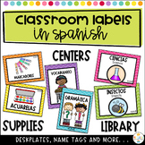 Classroom supply labels, centers, editable nametags and desk plates in Spanish