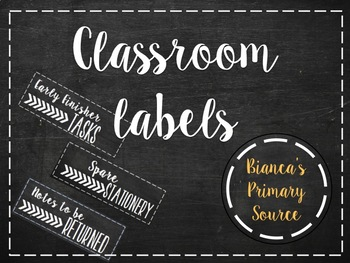 Classroom labels (chalkboard cursive themed)